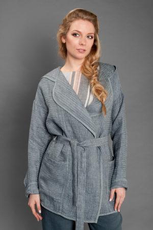 Pelēka svītraina lina jaka-0