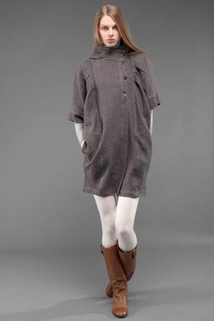 Pilka lininė skraistė - paltukas-0