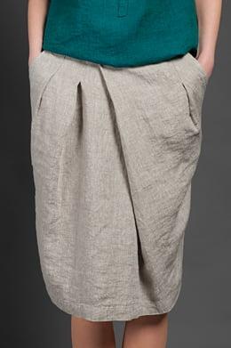 Lininis šviesiai pilkas trumpas sijonas 4