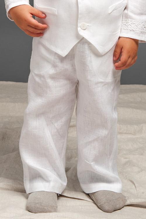 Baltos lininės kelnės berniukui