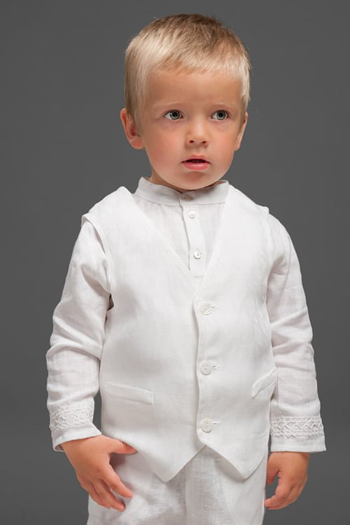Balta lininė krikšto liemenė