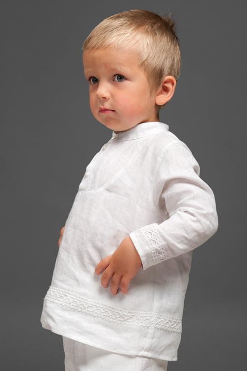 Lininiai balti marškinėliai su nėriniais berniukui