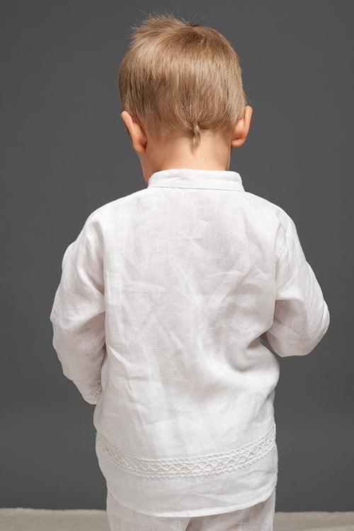Vaikiški lininiai balti marškinėliai su nėriniais tinka krikštynoms