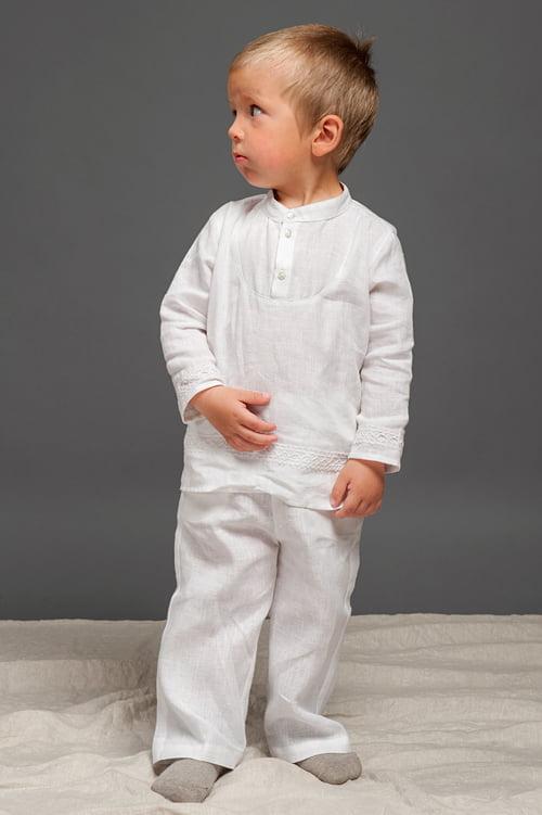 Lininiai balti marškinėliai su nėriniais