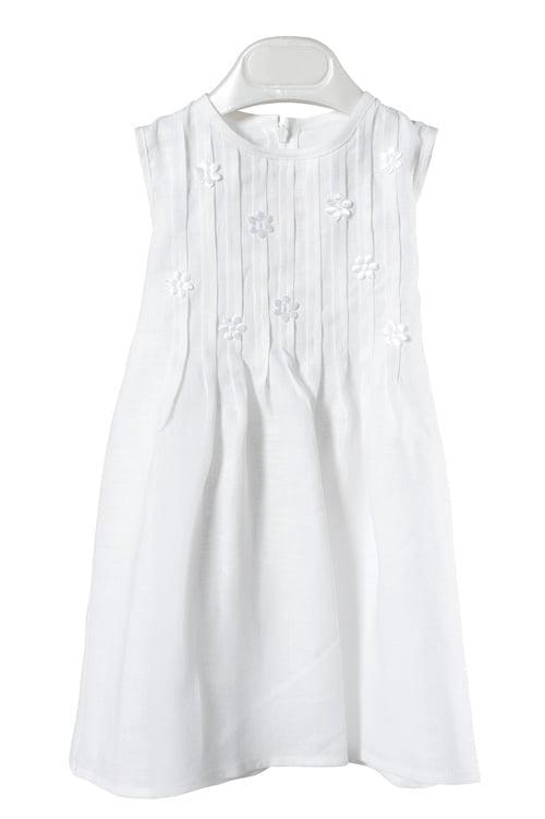 Lininė balta suknelė puošta gėlytėmis, su kaspinu nugaroje