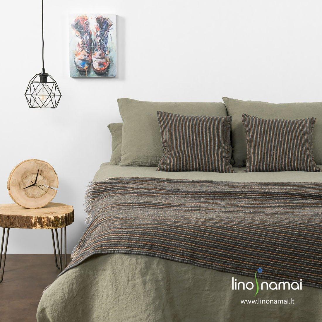 """Lina zaļgani pelēks gultas """"pastorāle"""""""