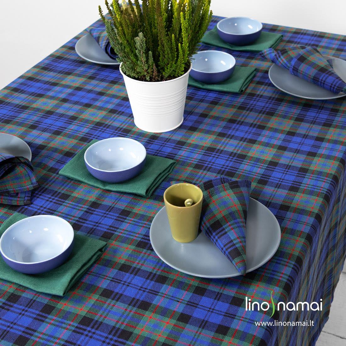 Lino - medvilnės staltiesė škotiškais žaliais ir mėlynais langeliais, languotos, žalios servetėlės