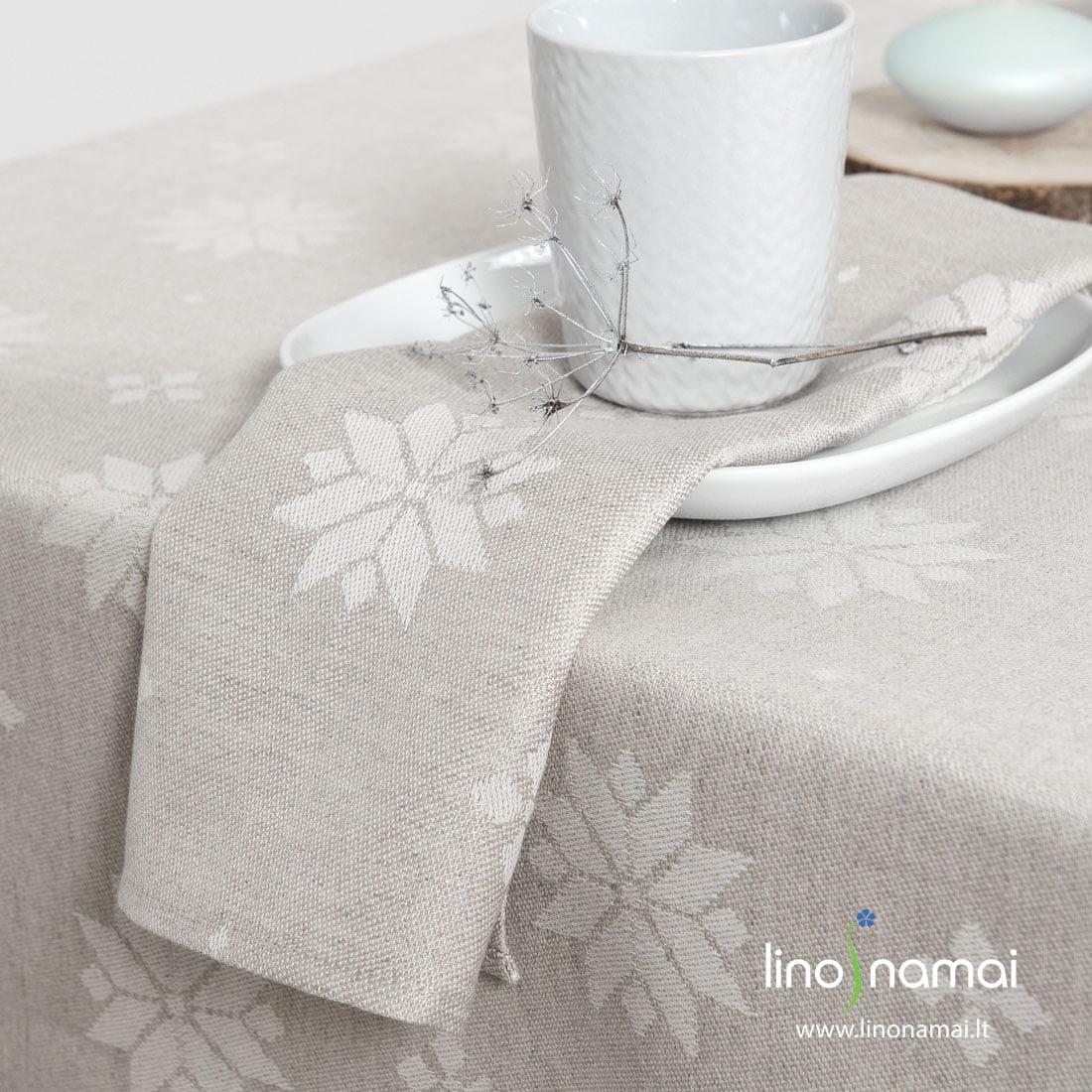 Puslininė šviesiai pilka servetėlė su žvaigždėmis