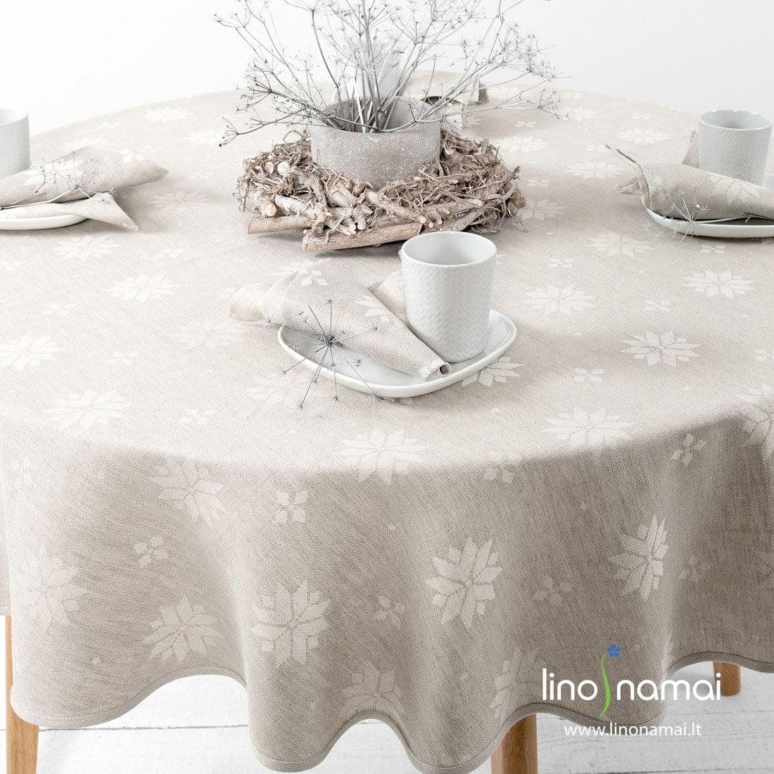 Apvali (ovali) lino-medvilnės staltiesė su geometrinių raštų žvaigždėmis