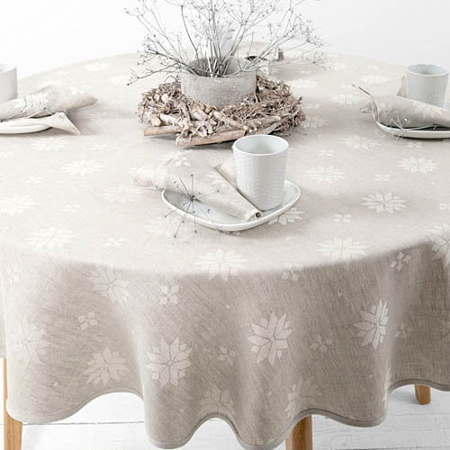 Pilka žakardinė stalo staltiesė kalėdoms 2019.