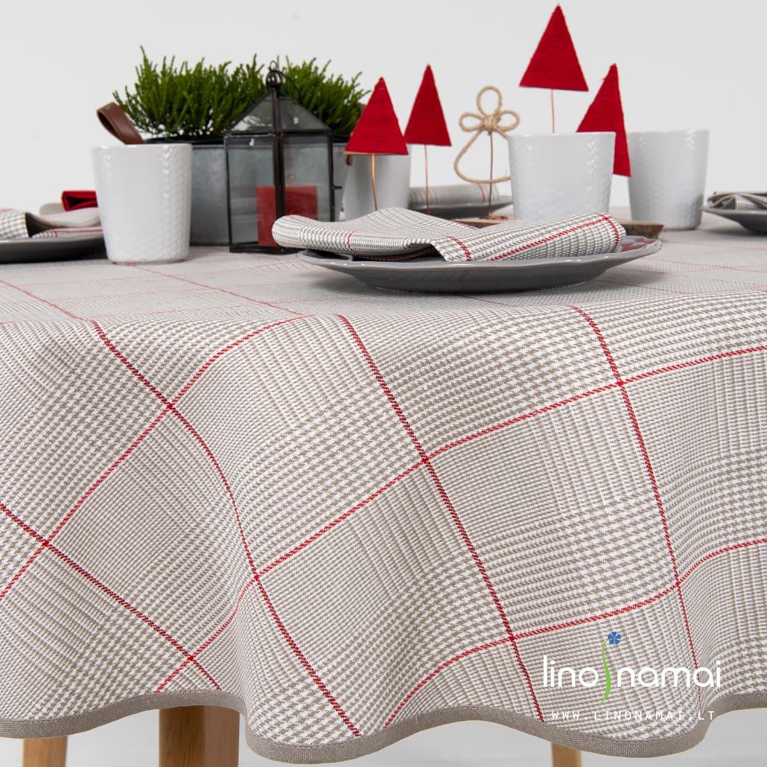 Apvali pilaki languota lininė staltiesė | Kalėdinių dovanų idėjos