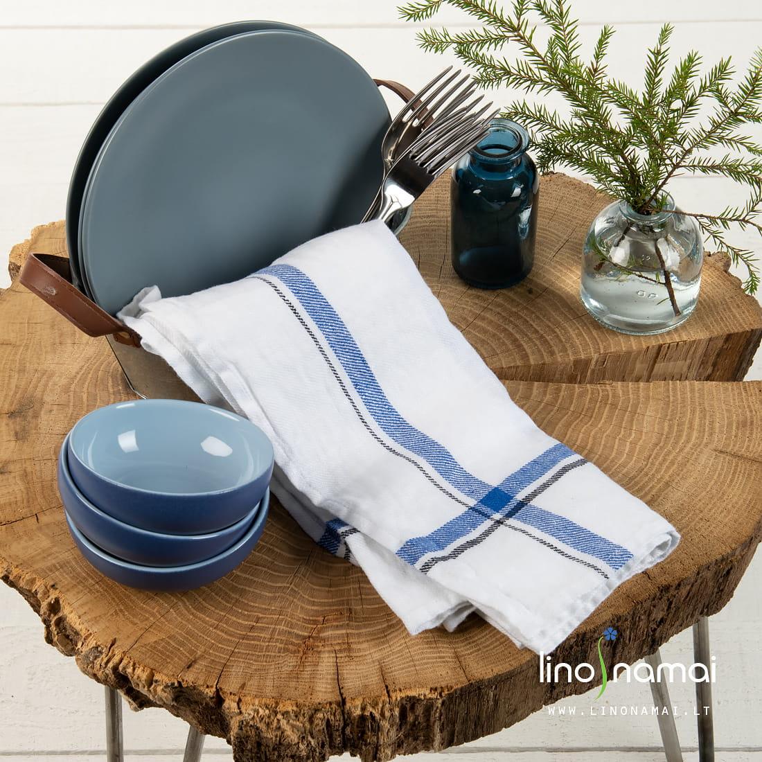 Lininis virtuvės rankšluostis baltas su mėlynu | Kalėdinių dovanų gidas