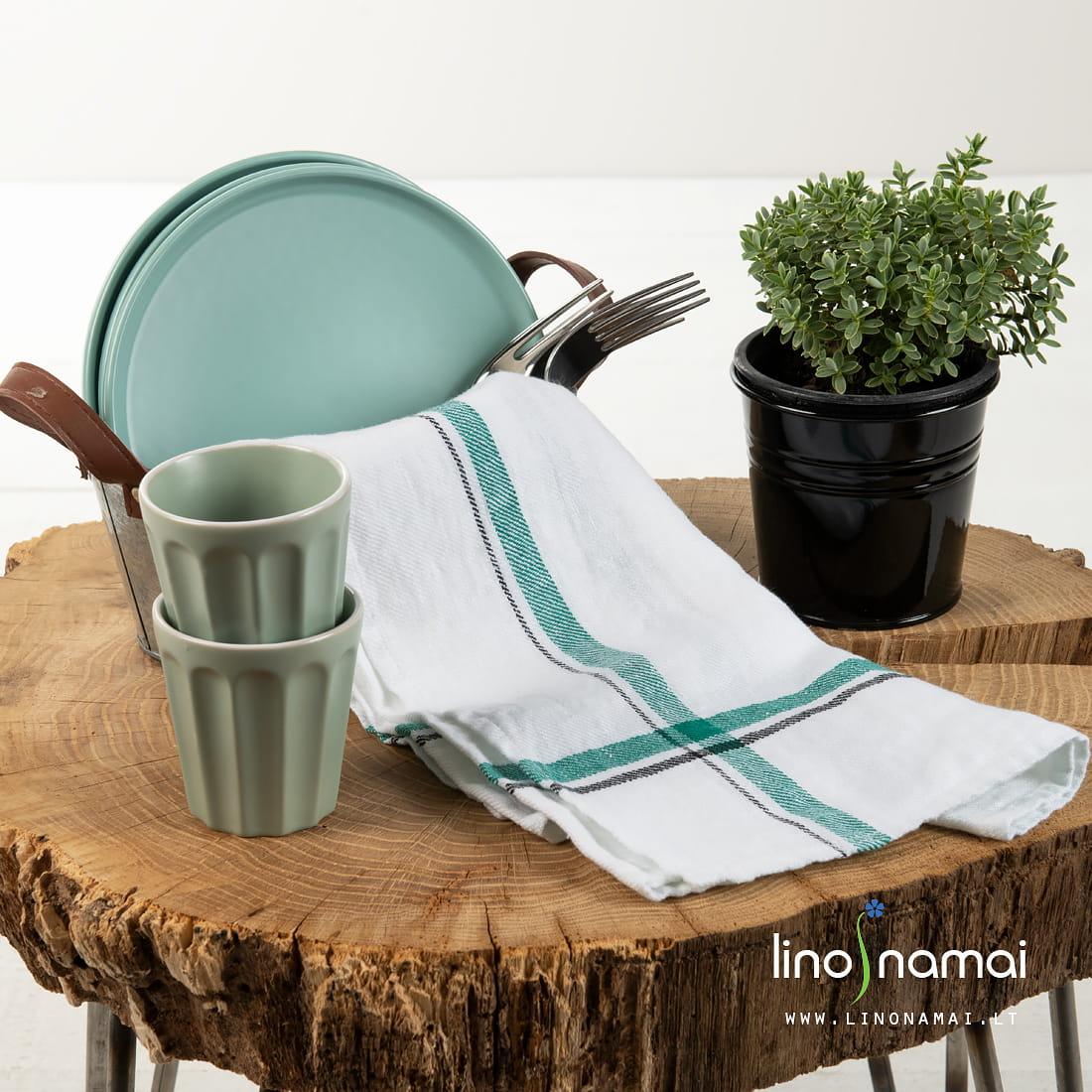 Lininis virtuvės rankšluostis baltas su žaliu | Kalėdinių dovanų pasiūlymai