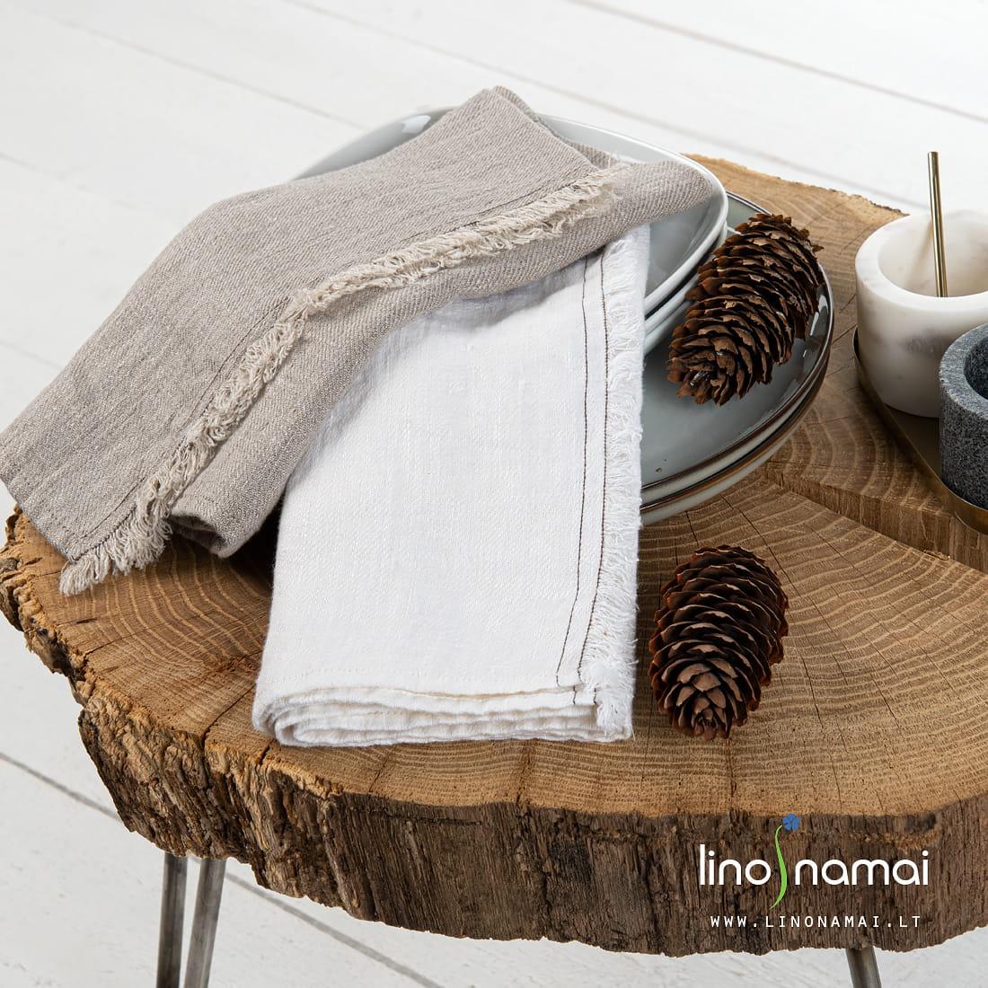Baltas ir natūralus lininis lininis virtuvės rankšluostis | Kalėdinių dovanų gidas