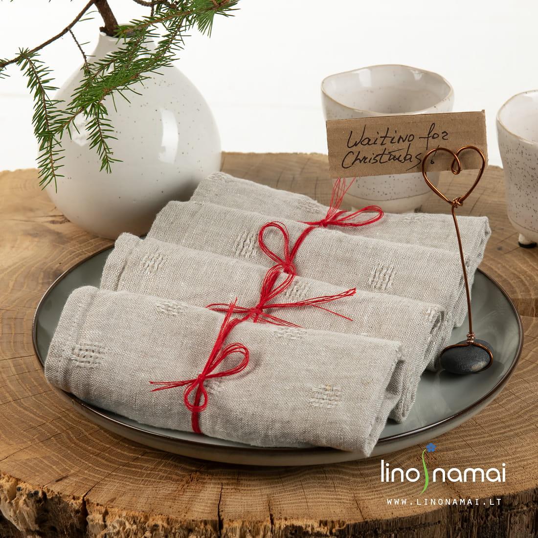 Pilkos lininės servetėlės | Kalėdinių dovanų gidas