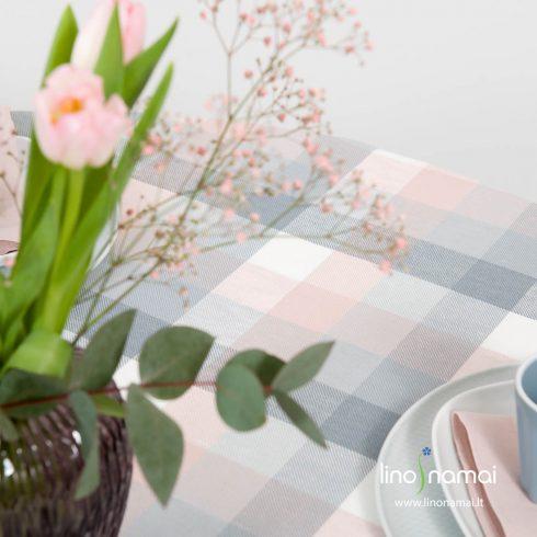 Rausvai, pilkai languota lino - medvilnės staltiesė, apvali, ovali - Lino Namai