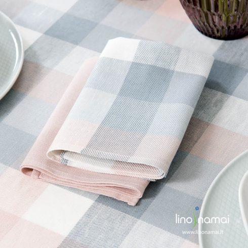 Lino - medvilnės servetėlė melsvai pilkais, šviesiai rožiniais ir baltais langeliais - Lino Namai