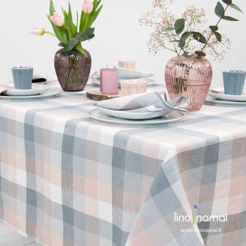 Puslininė staltiesė baltais, melsvai pilkais, rožiniais langeliais - Lino Namai